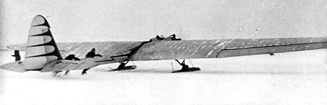 Г-31 с мотором на лыжном шасси
