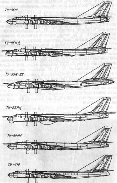 Схемы самолетов семейства Ту-